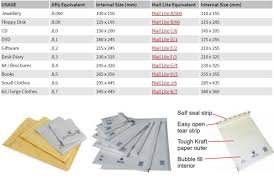 Postal Size Chart Mail Lites Or Jiffy Bags