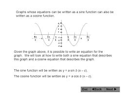 the sine function will be written as y a sin b x c