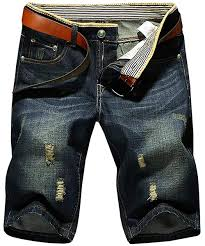 Hengao Mens Vintage Ripped Holes Mid Rise Washed Jeans Slim Shorts