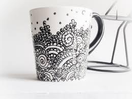Coffee Mug hand painted Elegant Chic Lacelike painted porcelan cup
