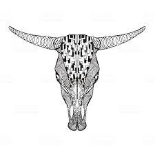 Zentangle изображением черепа быка эскиз татуировки или футболка для