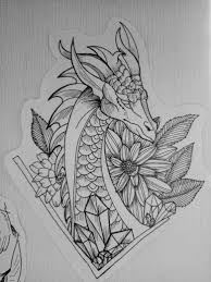 Dragon Flowers Tattoo Sketch Graft Black And White Graphic