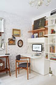 office area in living room. West Elm Home Office. Small Space Desk - Tiny Living Room Transformation In Nyc | Office Area N