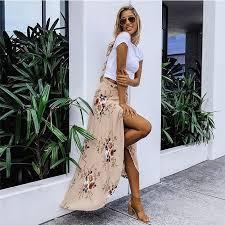 2018 New Summer <b>Hot Women Stretch</b> High Waist Floral Long Skirt ...