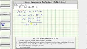solve a linear equation with paheses 2 x 8 14 75 21