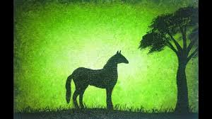 Easy Painting Silhouette Painting Of Horse Green Background Easy Painting