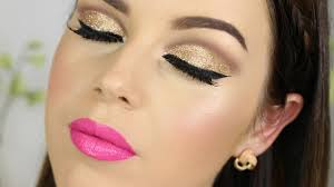 gold glitter cut crease bright pink lips tutorial makeup by annalee