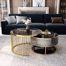 modern round gold gray nesting coffee