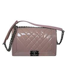 chanel pink patent leather medium chevron quilted boy bag for