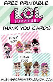 Surprise Images Free L O L Surprise Dolls Thank You Cards Lol Surprise Doll Party