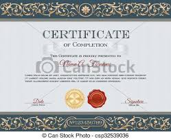 Certificate Of Completeion Vintage Certificate Of Completion