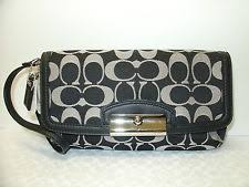 New COACH F48980 Kristin Signature Sateen Large Clutch Wristlet Wallet