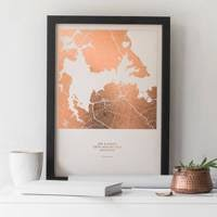 this thoughtful gift is the perfect keepsake for a 10th anniversary personalise the chic metallic print with a special destination and add your own text