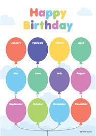Teacher Birthday Chart Balloons Birthday Chart K 3 Teacher Resources