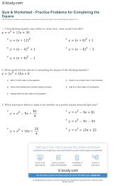 print completing the square practice problems worksheet