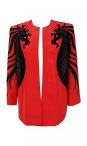 1985 Bob Mackie Beaded Embroidered Unicorn Novelty Red Silk