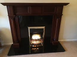 dark wood fireplace surround