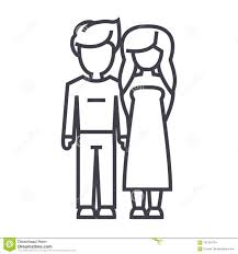 Young Couple In Love Vector Line Icon Sign Illustration On