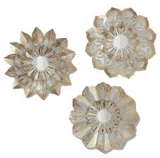 metal flower wall art in ivory gold