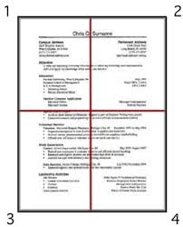 image shows a sample resume 85 inches by 11 inches split into four equal how should my resume be formatted