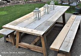 reclaimed wood outdoor dining table and benches diy outdoor furniture plans free