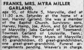 Obituary for MYRA MILLER FRANKS (Aged 95) - Newspapers.com