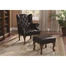 coaster furniture 900262 traditional wing back on tufted chair and ottoman