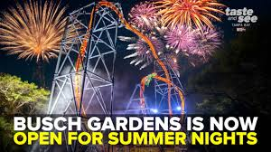 up at busch gardens tampa bay during summer nights explore the park after dark with extended hours to 10 p m on select days from may 31 august 11