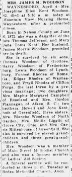 Josephine Ellen Kent Rhodes Woodson obit - Newspapers.com