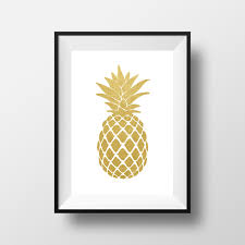 gold white pineapple wall art paper black wooden framed interior hanging design printable picture images