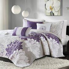 Anthology Full/queen Quilt in Plum Purple Vine | eBay & Purple Full Queen Quilt Coverlet Set 6pc Bedding Sheet 90x90in Pillow Sham  Grey Adamdwight.com