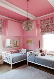 pink girls bedroom chandelier eclectic kids