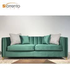 Button Sofa Design Hot Item Crystal Button Tufted Design Sofa Green Home Furniture Golden Leg