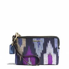 COACH f51418 MADISON IKAT PRINT CANVAS L-ZIP SMALL WRISTLET LIGHT GOLD BLUE  MULTI