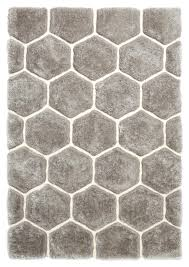 grey u0026 white hexagon rug super soft shaggy pile noble house honeycomb floor mat picture 2 of grey white rug g99