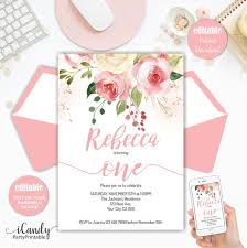 1st Birthday Party Invitation Template Editable Blush Pink Floral Babys First Birthday Party Invitation Printable 1st Birthday Invite Template Instant Download