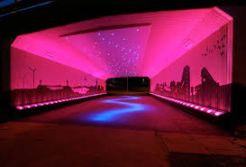 bigg design transforms a drab scottish underpass with dazzling led lights
