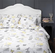 bird vintage style design duvet cover quilt set yellow white