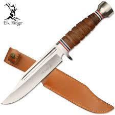 elk ridge 12 leather handle fixed blade hunting knife w leather sheath