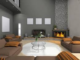 modern living room with fireplace. Modern Living Room Design Corner Stone Fireplace With E