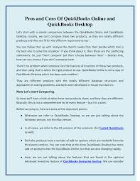 Pros And Cons Of Quickbooks Online And Quickbooks Desktop Pdf Docdroid