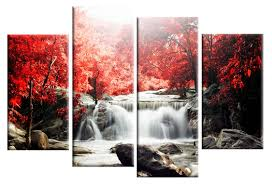 red autumn forest waterfall split panel canvas wall art 40 inch wide on red canvas wall art uk with affordable canvas wall art prints and pictures from art4uk