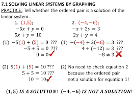 8 7 1 solving linear systems by graphing practice tell whether the ordered pair is a solution of the linear system
