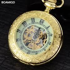 online get cheap mens gold pocket watch aliexpress com alibaba fob men pocket watches gold mechanical watches boamigo brand skeleton arbic number analog gift watches luxury
