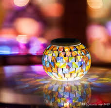 solar powered mosaic glass ball garden lights color changing solar table lamps waterproof solar