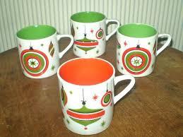 4 Retro Mid-century Christmas mugs- 1960s era Christmas decor ...