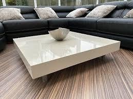 glass top coffee table high gloss white