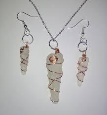 copper wire wrapped sea gl jewelry set