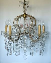 5 arm marie therese chandelier with clear and pale pink drops
