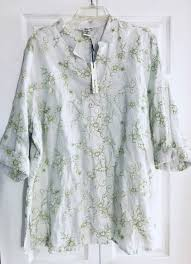 Susan Bristol Size Chart Susan Bristol Womens White Blouse Green Embroidered Floral